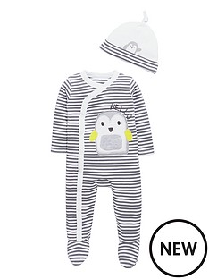ladybird-baby-unisex-penguin-stripe-sleepsuit-and-hat-set