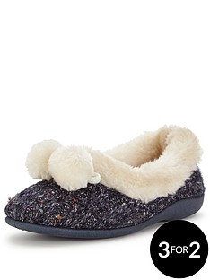 dunlop-pom-pom-cosy-full-slipper-navy