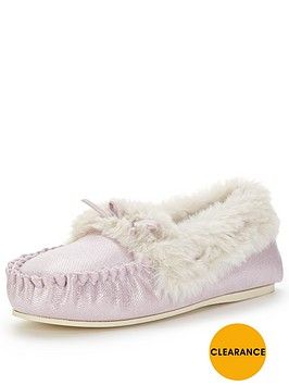 dunlop-shimmer-mocassin-slipper-with-luxe-faux-fur--nbsplilac