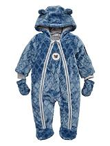 Baby Boys Fleece Quilted Cuddle Suit with Mittens