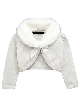 Mini V By Very Girls Faux Fur Collar Shrug