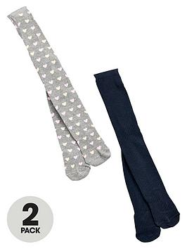 mini-v-by-very-girls-navy-cable-knit-and-heart-print-tights-2-pack