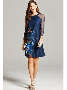 little-mistress-floral-print-and-lace-sleeve-dress