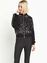 Embellished Bomber Jacket - Black