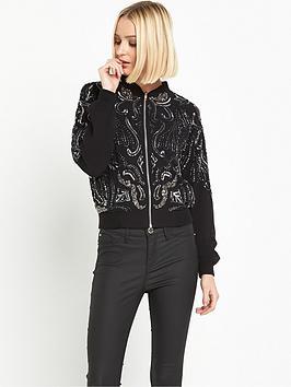 miss-selfridge-embellished-bomber-jacket-black