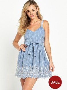 miss-selfridge-petite-chambray-broderie-dress