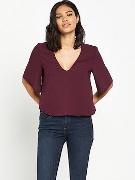 miss-selfridge-lace-up-back-tee