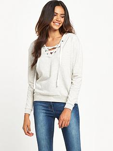miss-selfridge-lace-up-sweat