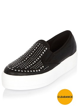 river-island-double-sole-stud-plimsoll