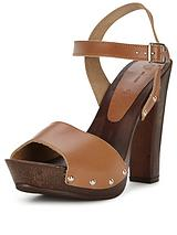 Wooden Heeled Platform Sandals With Leather Straps