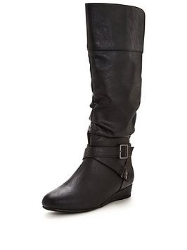 V By Very Grace Low Wedge Slouch Calf Boots  Black