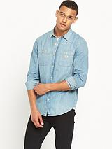 DENIM & SUPPLY RL LONG SLEEVE DENIM WORKWEAR SHIRT