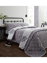 Floral Bouquet Duvet Set - Grey