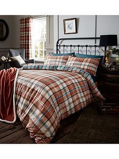 catherine-lansfield-heritage-kelso-check-duvet-set-spice
