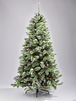 7Ft Artificial Flocked Christmas Tree With Pine Cones And White Berries