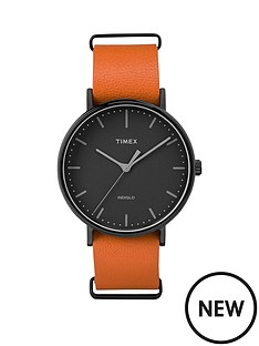 timex-timex-weekender-fairfield-black-dial-tan-strap-unisex-watch