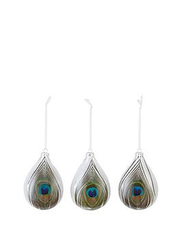 glass-peacock-christmas-tree-baubles-set-of-3