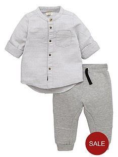 river-island-boys-textured-grandad-shirt-and-joggers-set
