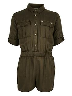 river-island-girls-dark-green-utilitynbspplaysuit