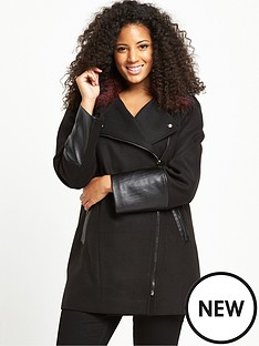 so-fabulous-contrast-fur-asymmetric-zip-coat