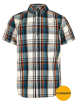 river-island-boys-ecru-short-sleeved-check-shirt