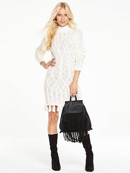 v-by-very-cable-knit-fringed-dress