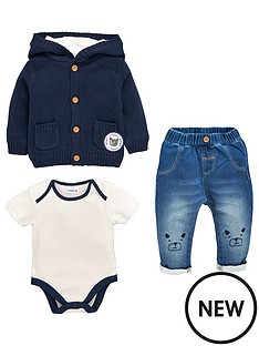 ladybird-baby-boys-3pc-hooded-knit-cardigan-bodysuit-and-jean-set