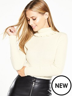 v-by-very-roll-neck-skinny-ribbed-jumper-with-frill-detail