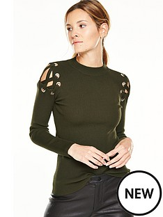 v-by-very-cut-out-eyelet-ribbed-jumper