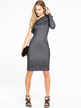 V By Very Knitted Metallic Bodycon Dress With One Shoulder Frill Detail