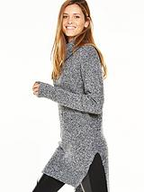 Chunky Boucle Knit Tunic Jumper With Roll Neck