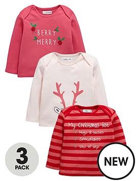 ladybird-baby-girls-3pk-xmas-tshirts