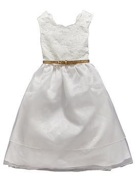 Mini V By Very Girls Lace Bodice And Glitter Belt Dress