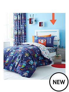 catherine-lansfield-robots-eyelet-curtains