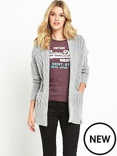 superdry-longline-aran-cardigan-grey-marl