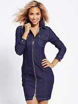 ZIP FRONT STRETCH DENIM DRESS