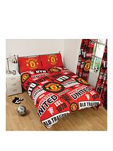 MUFC Patch Double Duvet Cover and Pillowcase Set