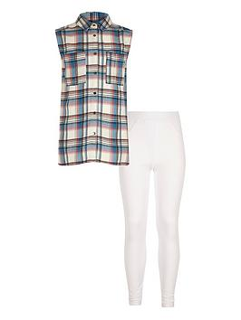 river-island-girls-pink-check-shirt-and-leggings-set