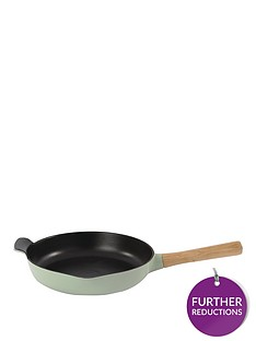 berghoff-ron-26cm-cast-iron-frying-pan-with-ash-wood-handle-in-sage