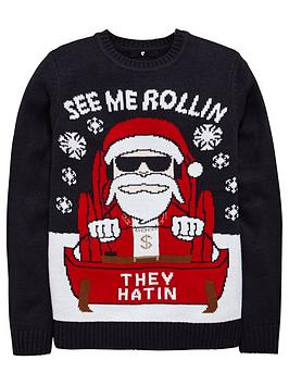 v-by-very-boys-christmas-rollin-santa-knitted-jumper