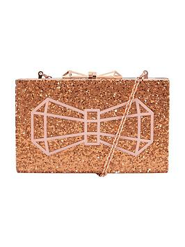 ted-baker-glitter-hard-box-bow-clutch-rose-gold
