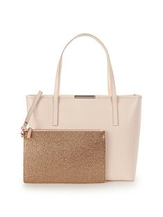 ted-baker-crosshatch-shopper-with-inner-glitter-purse-straw