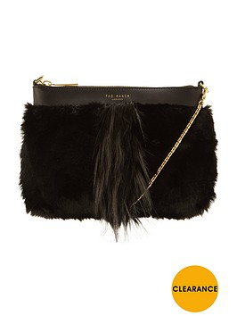 ted-baker-fauxnbspfur-clutch-black