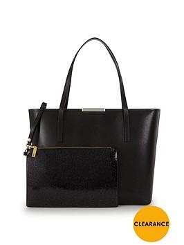 ted-baker-crosshatch-shopper-with-inner-glitter-purse-black