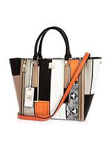 Panelled Winged Tote Handbag