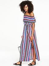 Frill Bardot Maxi Dress