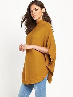 vila-hold-knit-poncho-tan