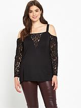 LACE LONG SLEEVE BARDOT TOP