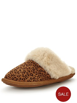 just-sheepskin-mule-slipper-with-gel-insole--nbspleopard-printnbsp