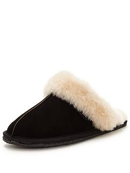 clarks-warm-glitz-suede-mule-slipper-black